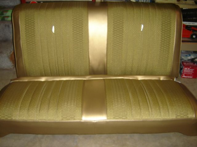 pics of my 70 malibu seats with gold rivar cloth inserts. Black Bedroom Furniture Sets. Home Design Ideas